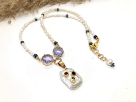 collier parels wit met lila kristal
