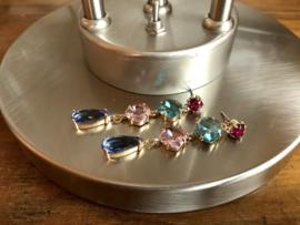 oorbellen lang verguld swarovski en glaskristal