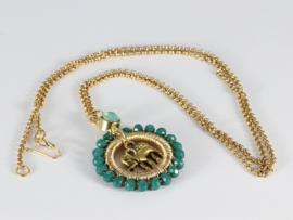 collier kort goud met hanger met kristal groen en swarovski