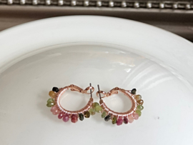oorbellen creolen rosegoud met torrmalijn