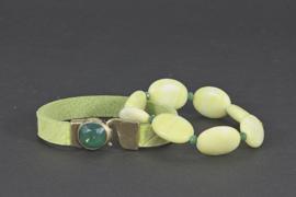 armband suede lime groen met swarovski element