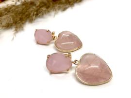 oorbellen verguld met rozenkwarts hart