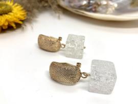 oorbellen goud bergkristal kubus