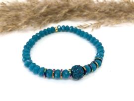 armband jade facet blauw/turquoise