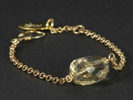 armband met schakels in goud met citrien
