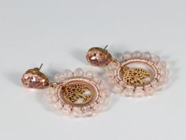 oorbellen oorstekers vintage roze rozenkwarts tree of life