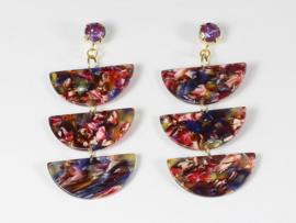 oorbellen goud oorstekers swarovski met resin hangers