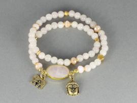 armband elastisch met roze jade