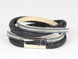 armband suede met kristal zilver in donkerblauw