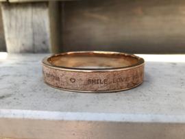 armband bangle roségoud met vintage leer