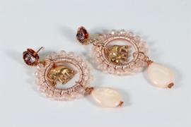 oorbellen rosegoud swarovski vintage roze kristal