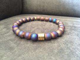 armband heren elastisch hematiet multiolour dark