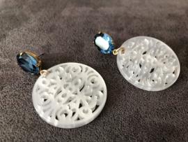 oorbellen oorstekers met swarovski elements blauw