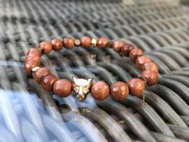 armband elastisch goudsteen bruin rosegoud tijgerkop