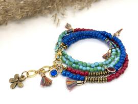 armband BOHO Chic in blauw, turquoise, rood