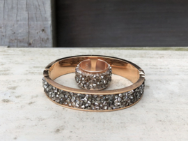 RVS armband/bangle rosegoud en strass + ring