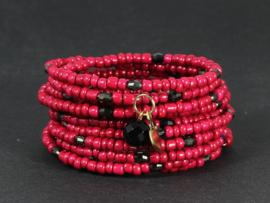 armband wikkel in rood met kristallen en onyx