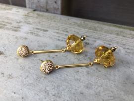 oorbellen lang goud met kristal
