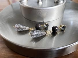 oorbellen lang goud grijs met swarovski