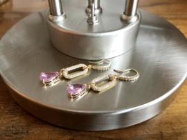 oorbellen lang goud met zirkonia en roze facet kristal druppel
