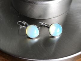 oorbellen zilver klapcreolen met opaliet