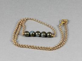 collier goud met pyriet in lapis lazuli