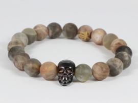 heren armband met zonnesteen en zwarte skull