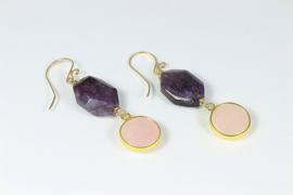 oorbellen lang goud rozenkwarts en amethist