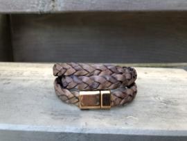 armband met gevlochten vintage leer