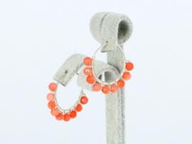 oorbellen zilver creolen met koraal