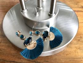 oorbellen lang goud met swarovski blauw