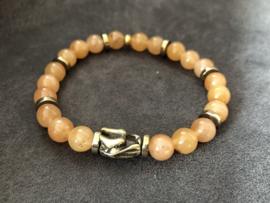 heren armband jade lichtbruin met bronzen draak