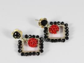 oorbellen zilver zwart rood met swarovski