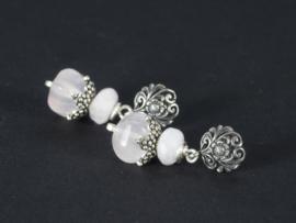 oorbellen kort zilver met rozenkwarts