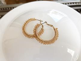 creolen goud met kristal