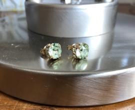 oorbellen goud verguld met chrysoliet swarovski elements