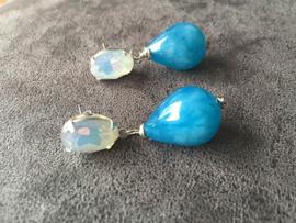 oorbellen oorstekers zilver met swarovski elements en chalcedoon druppels blauw