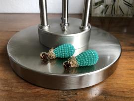 oorbellen XL verguld met swarovski en turquoise kristal drops