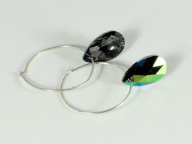 oorbellen zilver creolen met swarovski elements 2 kleuren