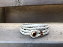 armband gevlochten leer wit