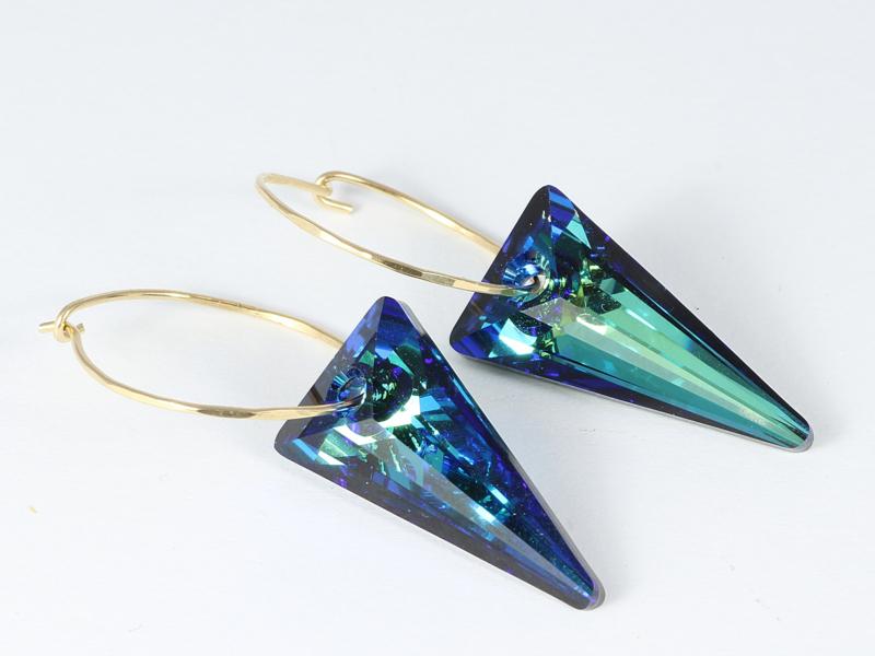 oorbellen creolen goud met swarovski element driehoeken