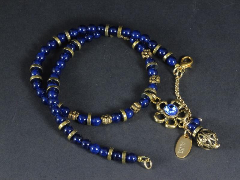 collier blauwe jade en hematiet goud