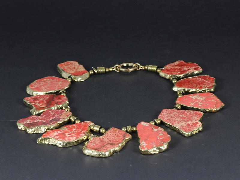 collier exclusief verguld en goud serpentijn en hematiet