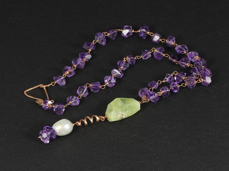 collier rosegoud met lila amethist en groen amethist
