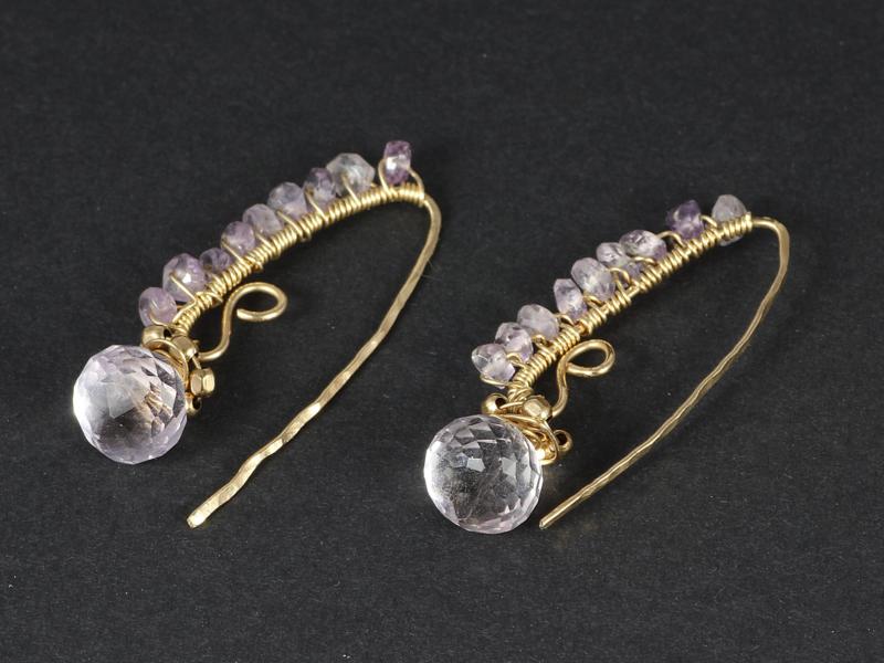 oorbellen lila amethist onion brioletten en goldfill