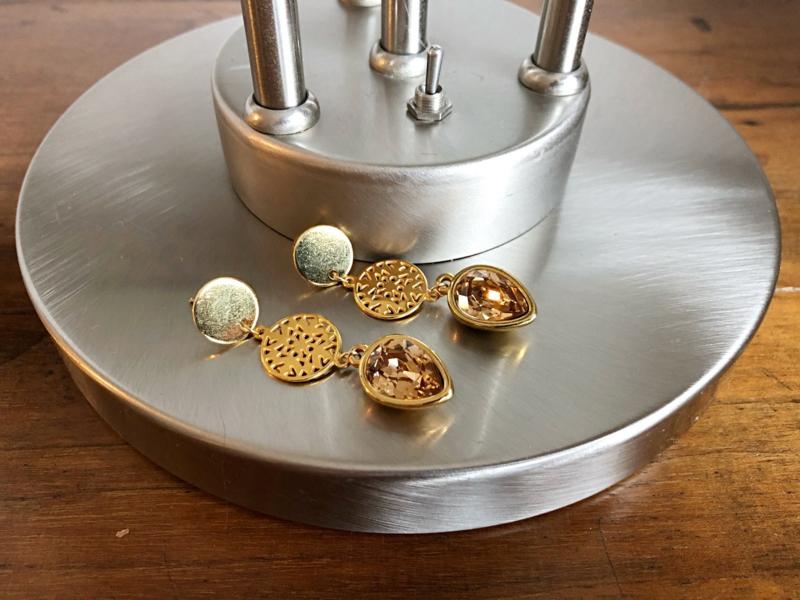 sieradenset goud met swarovski light topaz