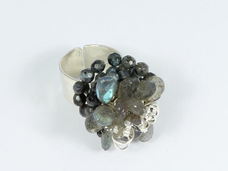 ring zilver met labradoriet