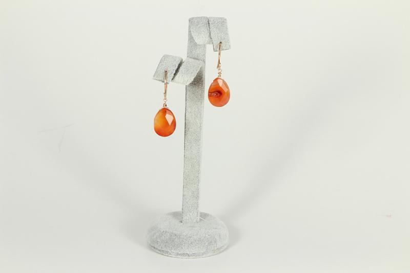oorbellen roségoud met carneool facet geslepen druppels