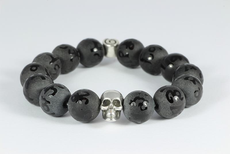 heren armband met antraciet jaspis en metalen skull