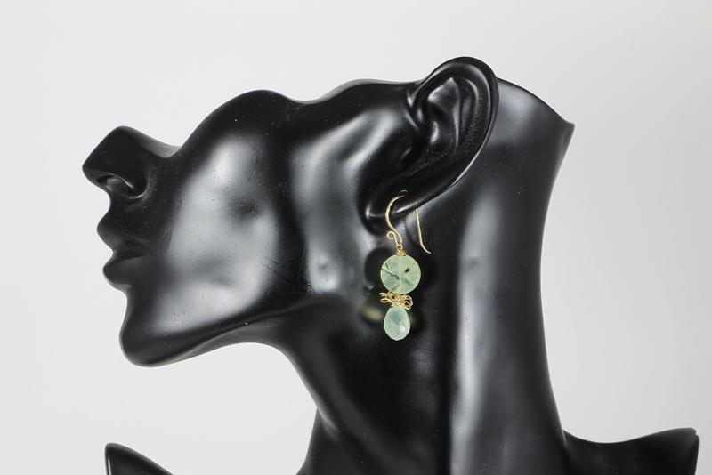 oorbellen in goud met prehniet